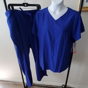 NWT Grey's Anatomy Royal Blue Scrub Set 2XL